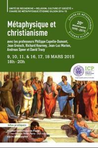 Métaphysique et christianisme : 6 conférences en mars 2015